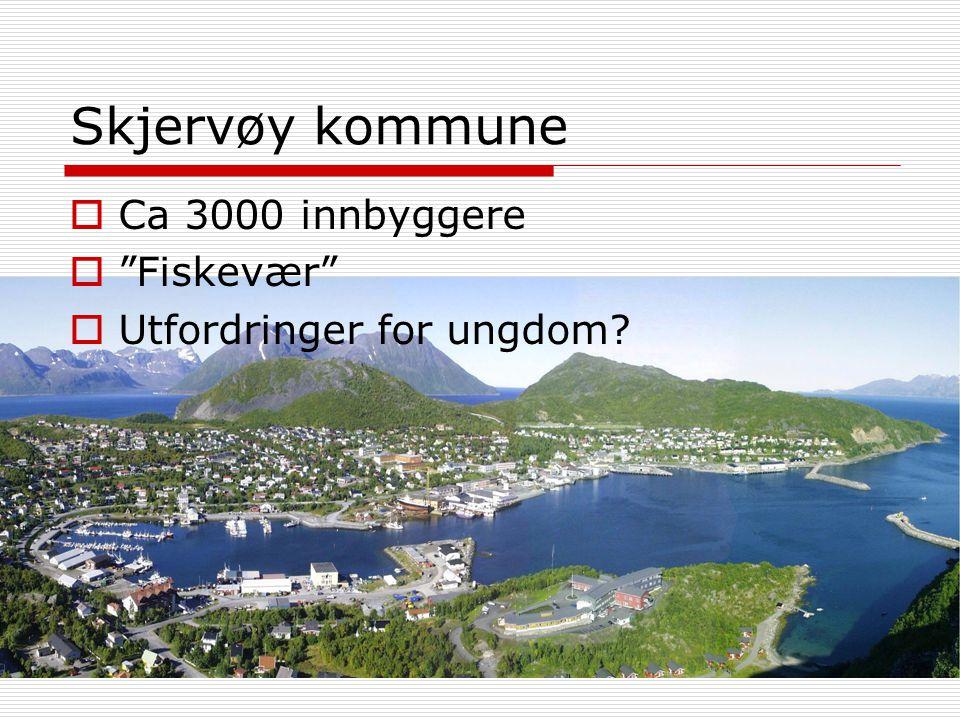 """Skjervøy kommune  Ca 3000 innbyggere  """"Fiskevær""""  Utfordringer for ungdom?"""