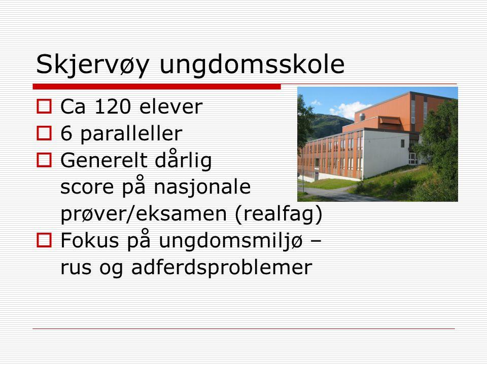 Skjervøy ungdomsskole  Ca 120 elever  6 paralleller  Generelt dårlig score på nasjonale prøver/eksamen (realfag)  Fokus på ungdomsmiljø – rus og a