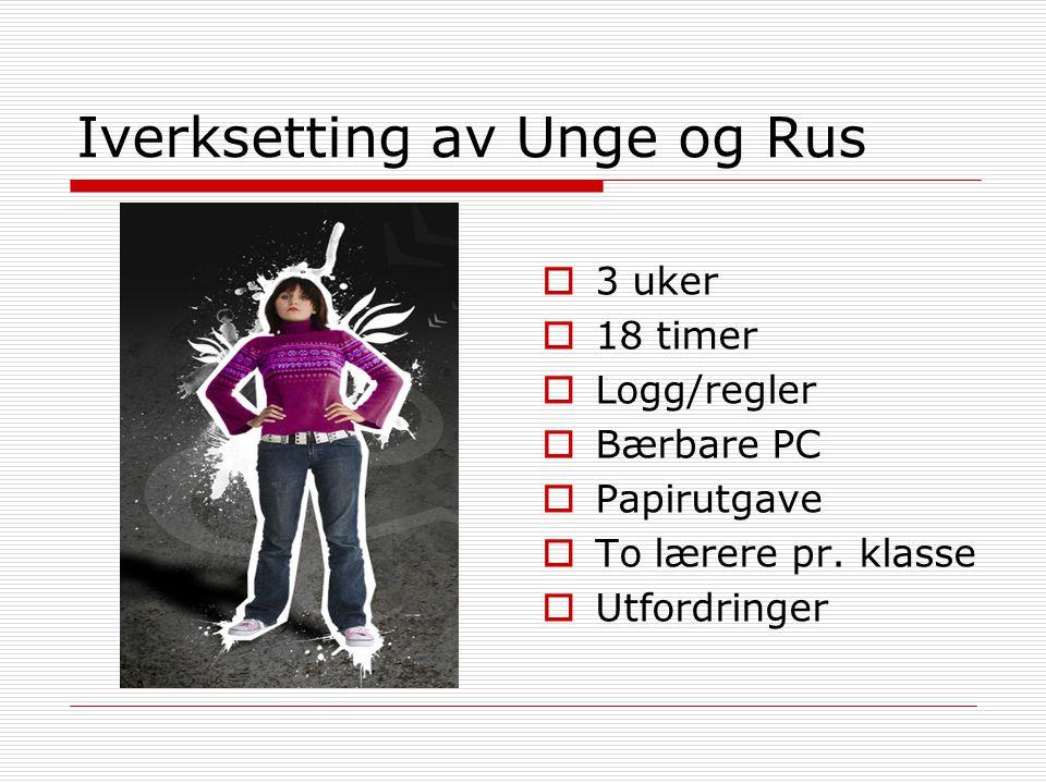 Iverksetting av Unge og Rus  3 uker  18 timer  Logg/regler  Bærbare PC  Papirutgave  To lærere pr.