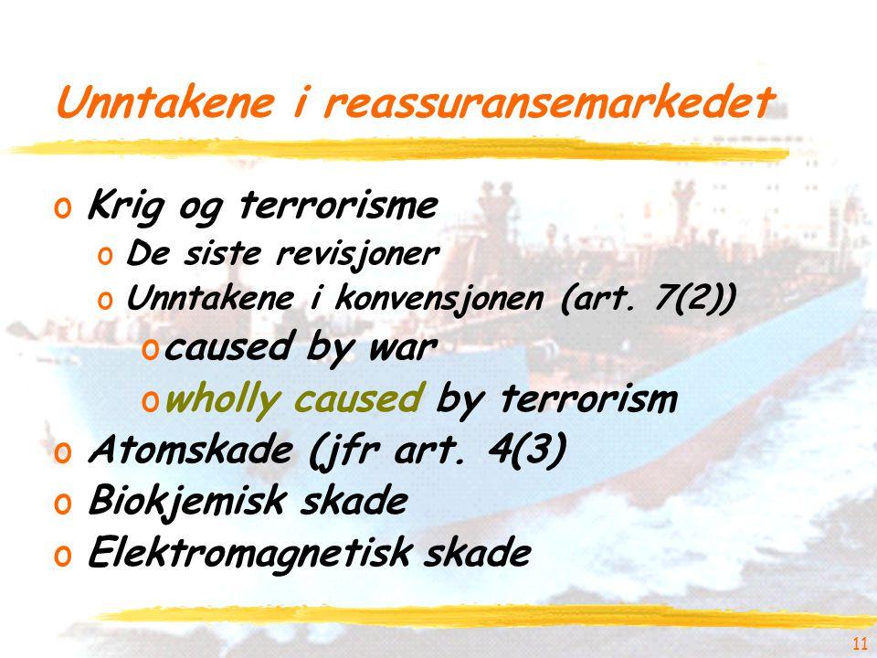 11 Unntakene i reassuransemarkedet oKrig og terrorisme oDe siste revisjoner oUnntakene i konvensjonen (art.