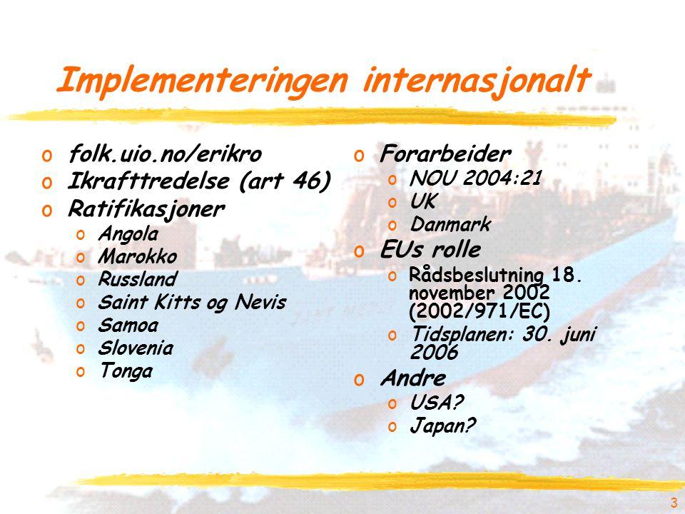 3 Implementeringen internasjonalt ofolk.uio.no/erikro oIkrafttredelse (art 46) oRatifikasjoner oAngola oMarokko oRussland oSaint Kitts og Nevis oSamoa oSlovenia oTonga oForarbeider oNOU 2004:21 oUK oDanmark oEUs rolle oRådsbeslutning 18.
