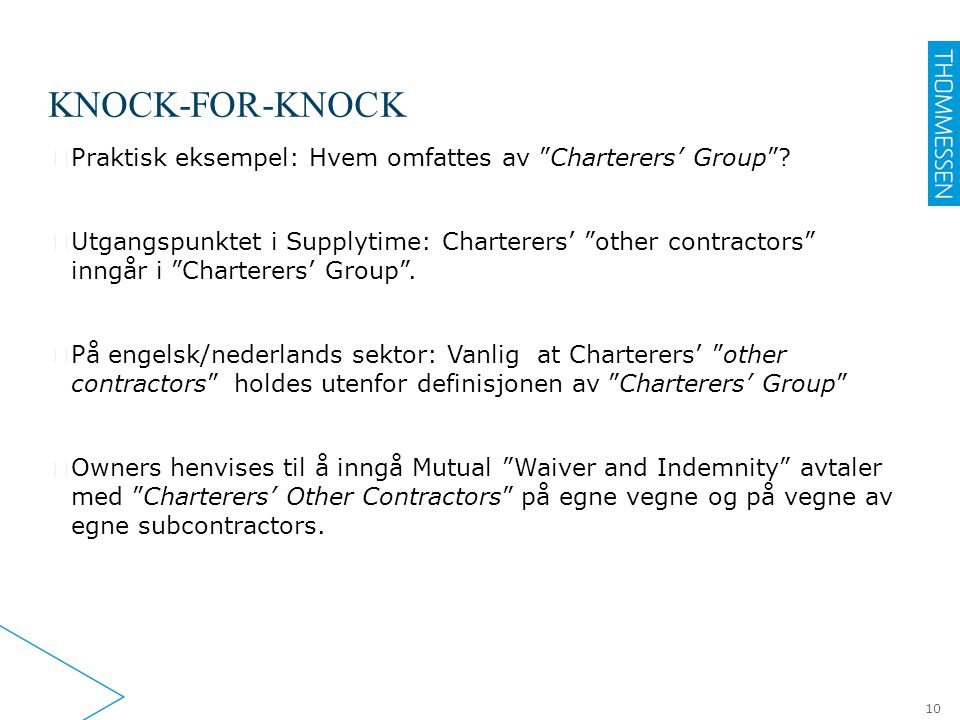 "KNOCK-FOR-KNOCK ▶ Praktisk eksempel: Hvem omfattes av ""Charterers' Group""? ▶ Utgangspunktet i Supplytime: Charterers' ""other contractors"" inngår i ""Ch"