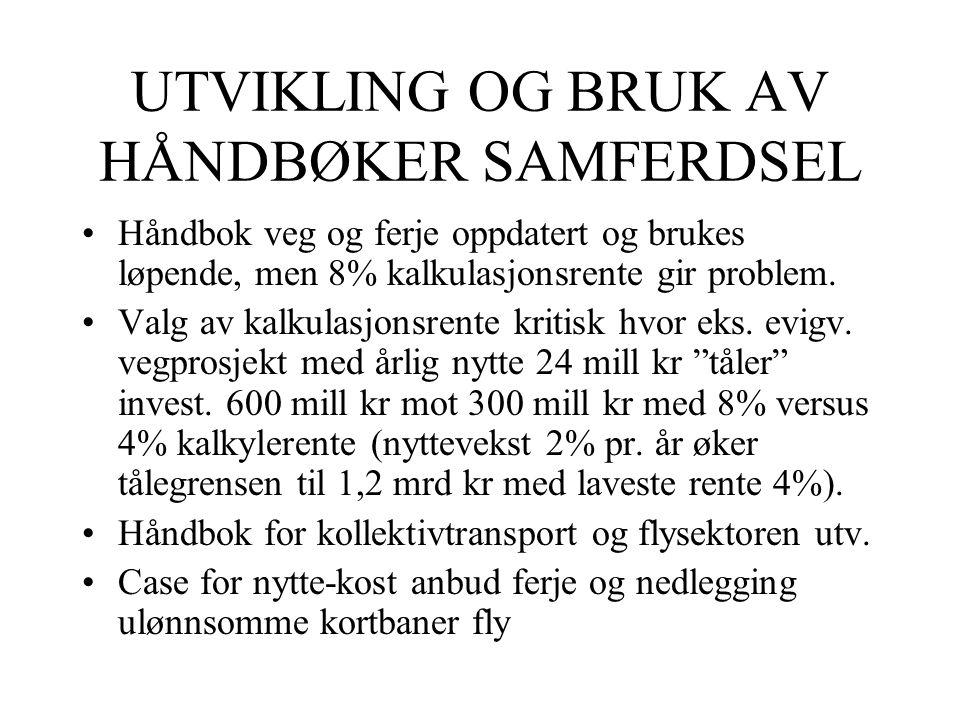 UTVIKLING OG BRUK AV HÅNDBØKER SAMFERDSEL Håndbok veg og ferje oppdatert og brukes løpende, men 8% kalkulasjonsrente gir problem. Valg av kalkulasjons