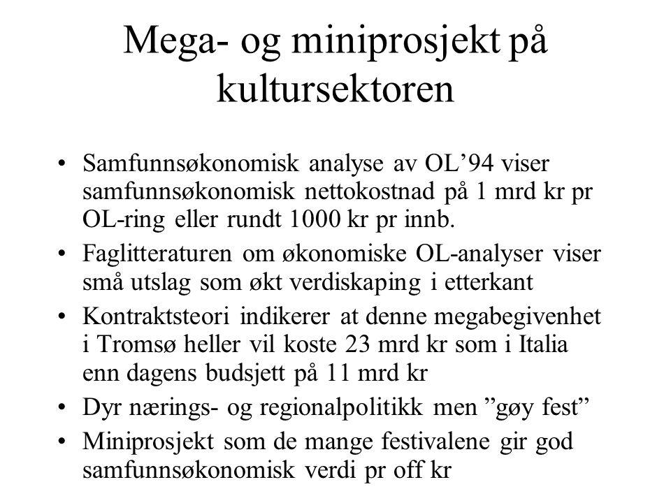 Mega- og miniprosjekt på kultursektoren Samfunnsøkonomisk analyse av OL'94 viser samfunnsøkonomisk nettokostnad på 1 mrd kr pr OL-ring eller rundt 100