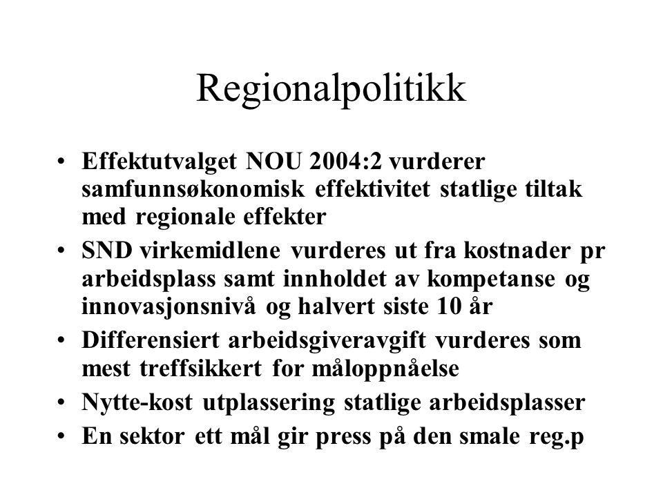 Regionalpolitikk Effektutvalget NOU 2004:2 vurderer samfunnsøkonomisk effektivitet statlige tiltak med regionale effekter SND virkemidlene vurderes ut