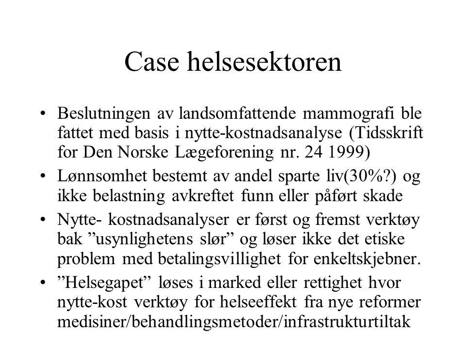 Case helsesektoren Beslutningen av landsomfattende mammografi ble fattet med basis i nytte-kostnadsanalyse (Tidsskrift for Den Norske Lægeforening nr.