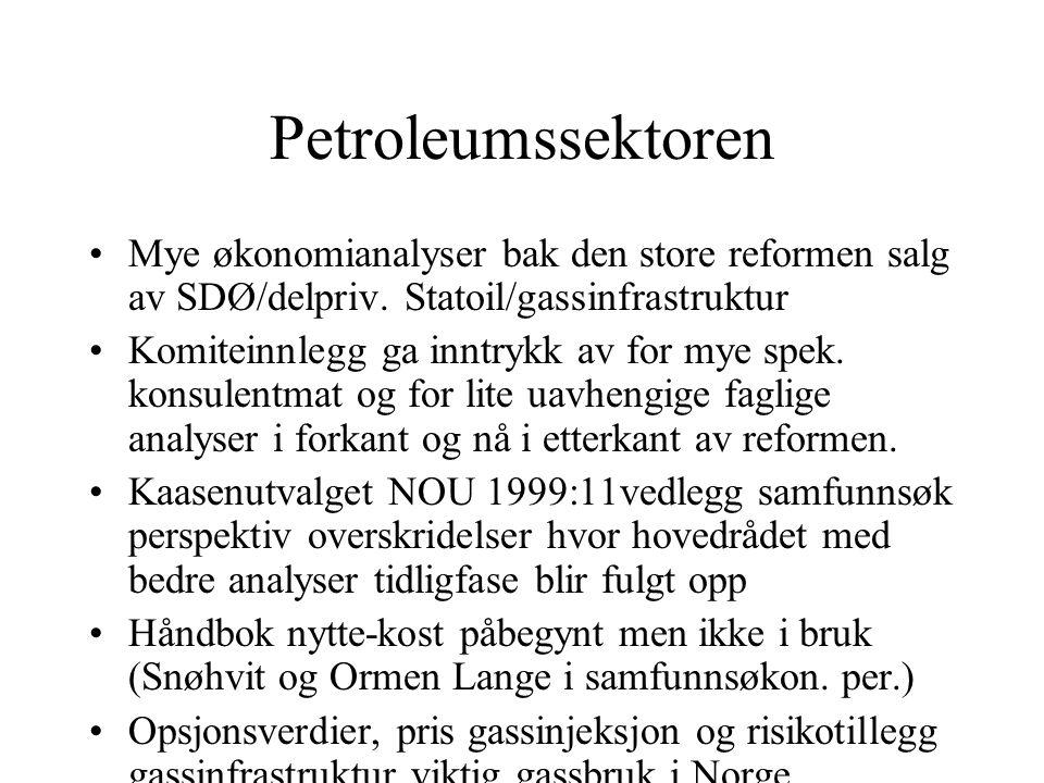 Petroleumssektoren Mye økonomianalyser bak den store reformen salg av SDØ/delpriv. Statoil/gassinfrastruktur Komiteinnlegg ga inntrykk av for mye spek