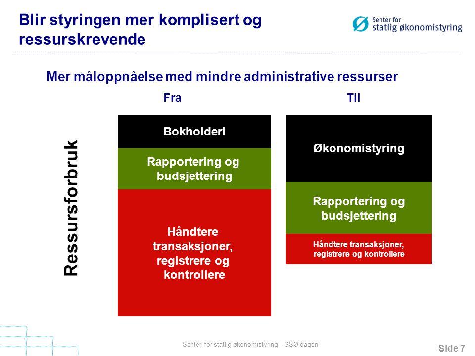 Side 7 Senter for statlig økonomistyring – SSØ dagen Blir styringen mer komplisert og ressurskrevende Bokholderi Økonomistyring Rapportering og budsje