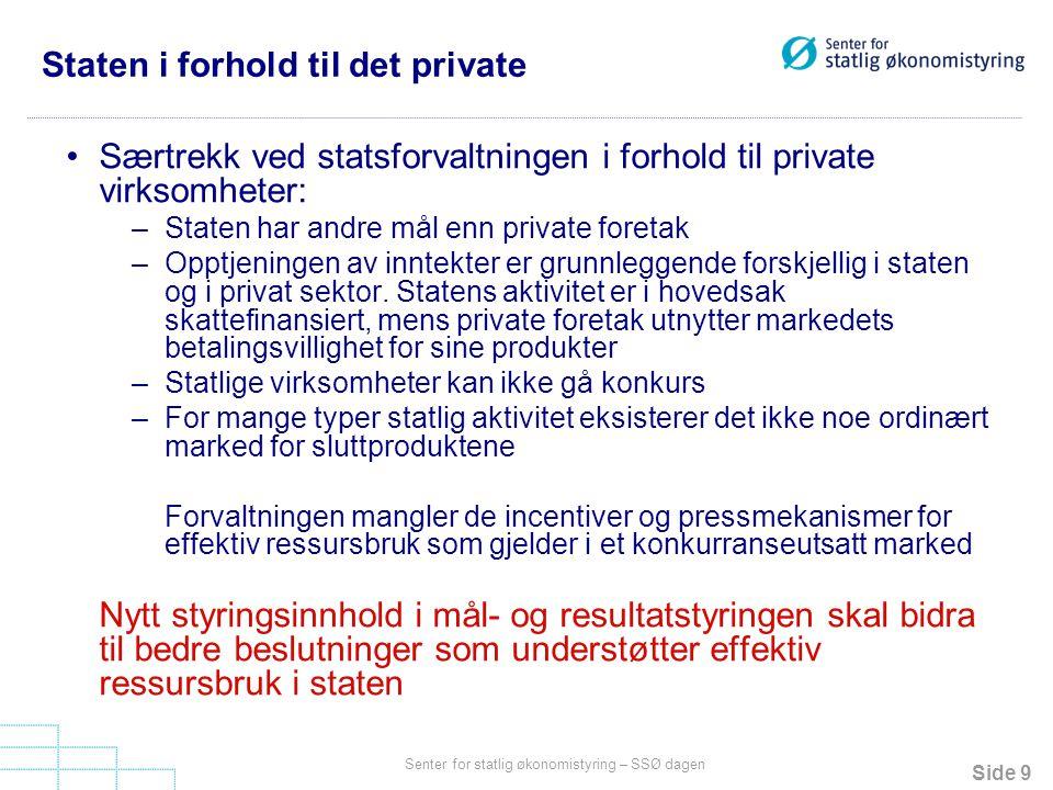 Side 9 Senter for statlig økonomistyring – SSØ dagen Staten i forhold til det private Særtrekk ved statsforvaltningen i forhold til private virksomhet
