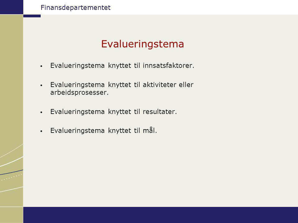 Finansdepartementet Evalueringstema Evalueringstema knyttet til innsatsfaktorer. Evalueringstema knyttet til aktiviteter eller arbeidsprosesser. Evalu