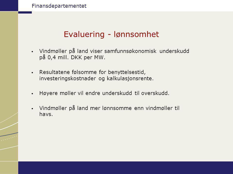 Finansdepartementet Evaluering - lønnsomhet Vindmøller på land viser samfunnsøkonomisk underskudd på 0,4 mill. DKK per MW. Resultatene følsomme for be