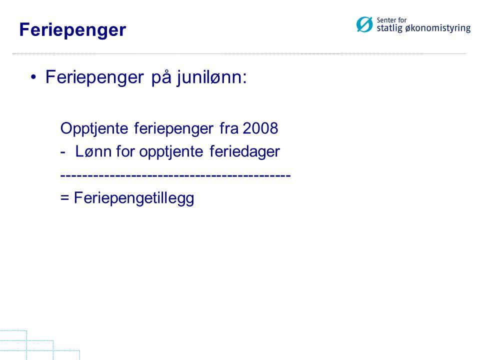 Feriepenger Feriepenger på junilønn: Opptjente feriepenger fra 2008 -Lønn for opptjente feriedager ------------------------------------------- = Ferie
