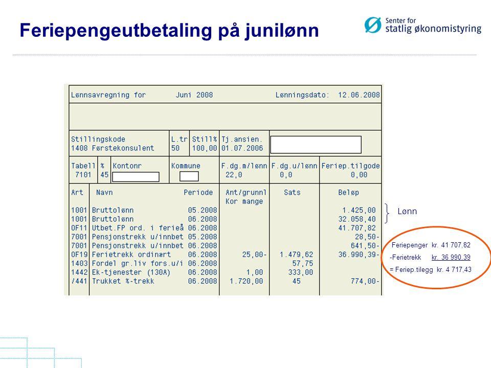 Feriepengeutbetaling på junilønn Lønn Feriepenger kr. 41 707,82 -Ferietrekk kr. 36 990,39 = Feriep.tilegg kr. 4 717,43
