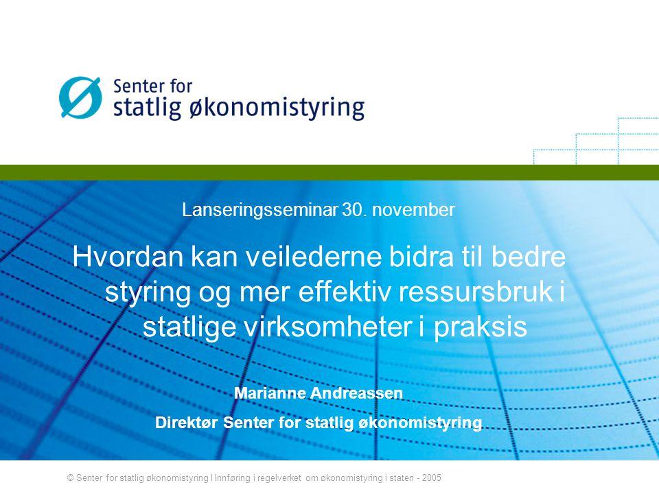 © Senter for statlig økonomistyring I Innføring i regelverket om økonomistyring i staten - 2005 Lanseringsseminar 30. november Hvordan kan veilederne