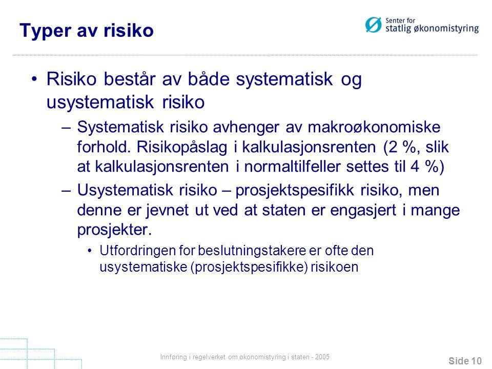 Side 10 Innføring i regelverket om økonomistyring i staten - 2005 Typer av risiko Risiko består av både systematisk og usystematisk risiko –Systematis