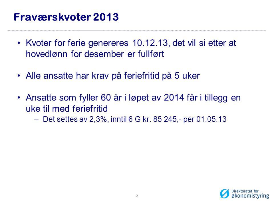 Fraværskvoter 2013 Kvoter for ferie genereres 10.12.13, det vil si etter at hovedlønn for desember er fullført Alle ansatte har krav på feriefritid på