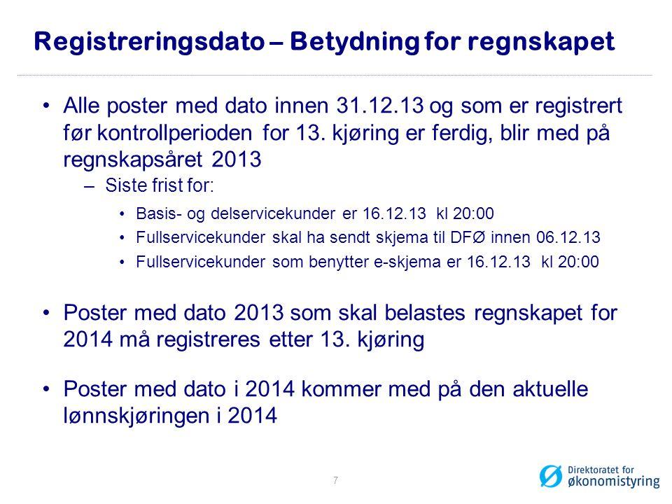 Registreringsdato – Betydning for regnskapet Alle poster med dato innen 31.12.13 og som er registrert før kontrollperioden for 13.