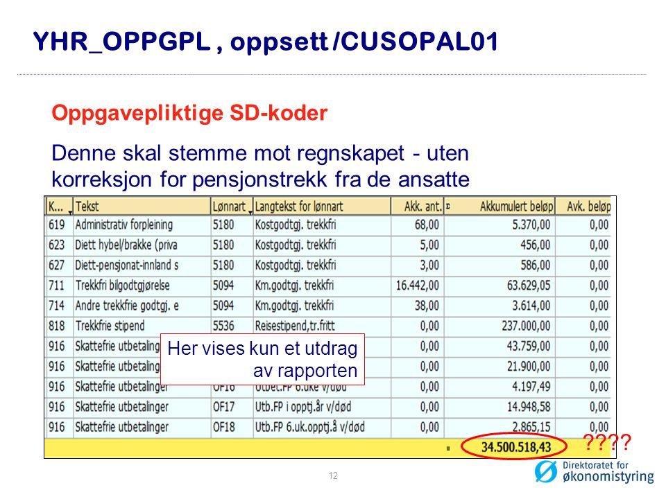 YHR_OPPGPL, oppsett /CUSOPAL01 Oppgavepliktige SD-koder Denne skal stemme mot regnskapet - uten korreksjon for pensjonstrekk fra de ansatte Her vises