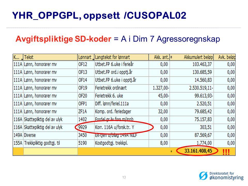 YHR_OPPGPL, oppsett /CUSOPAL02 Avgiftspliktige SD-koder = A i Dim 7 Agressoregnskap !!! 13