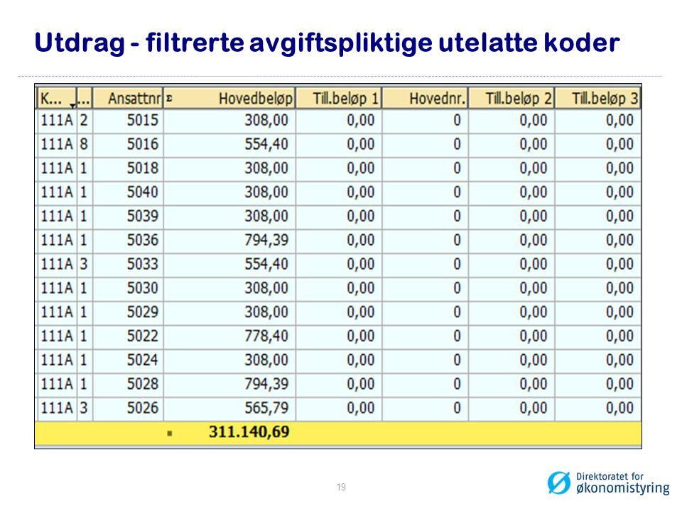 Utdrag - filtrerte avgiftspliktige utelatte koder 19