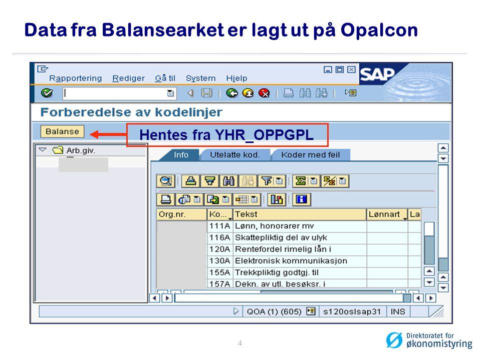 Data fra Balansearket er lagt ut på Opalcon Hentes fra YHR_OPPGPL 4