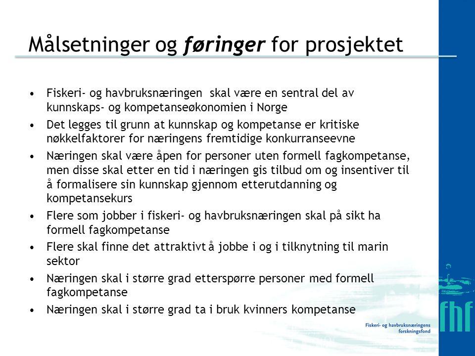 Målsetninger og føringer for prosjektet Fiskeri- og havbruksnæringen skal være en sentral del av kunnskaps- og kompetanseøkonomien i Norge Det legges til grunn at kunnskap og kompetanse er kritiske nøkkelfaktorer for næringens fremtidige konkurranseevne Næringen skal være åpen for personer uten formell fagkompetanse, men disse skal etter en tid i næringen gis tilbud om og insentiver til å formalisere sin kunnskap gjennom etterutdanning og kompetansekurs Flere som jobber i fiskeri- og havbruksnæringen skal på sikt ha formell fagkompetanse Flere skal finne det attraktivt å jobbe i og i tilknytning til marin sektor Næringen skal i større grad etterspørre personer med formell fagkompetanse Næringen skal i større grad ta i bruk kvinners kompetanse
