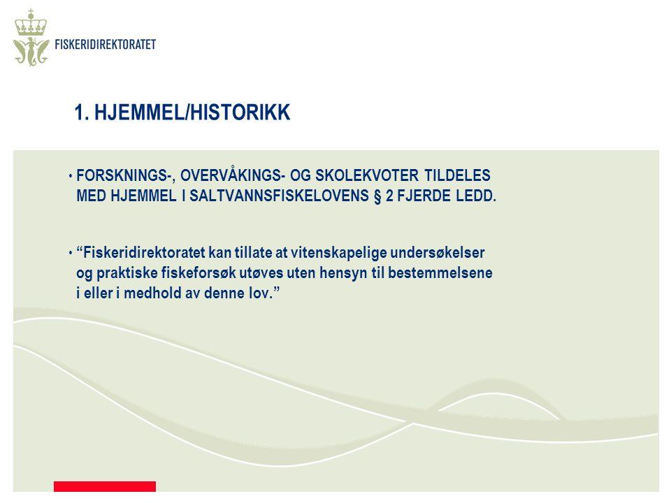 """1. HJEMMEL/HISTORIKK FORSKNINGS-, OVERVÅKINGS- OG SKOLEKVOTER TILDELES MED HJEMMEL I SALTVANNSFISKELOVENS § 2 FJERDE LEDD. """"Fiskeridirektoratet kan ti"""