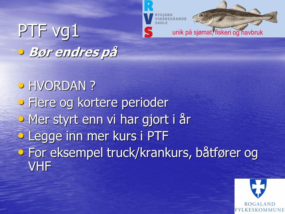 PTF vg1 Bør endres på Bør endres på HVORDAN .HVORDAN .