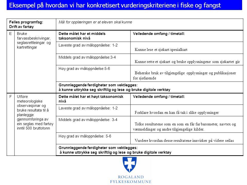 Felles programfag: Drift av fartøy Mål for opplæringen er at eleven skal kunne EBruke farvassbeskrivingar, seglasrettleiingar og kartrettingar Dette målet har et middels taksonomisk nivå Veiledende omfang / timetall: Laveste grad av måloppnåelse: 1-2  Kunne lese et sjøkart/spesialkart Middels grad av måloppnåelse:3-4  Kunne rette et sjøkart og bruke opplysningene som sjøkartet gir Høy grad av måloppnåelse:5-6  Beherske bruk av tilgjengelige opplysninger og publikasjoner for sjøfarende Grunnleggende ferdigheter som vektlegges: å kunne uttrykke seg skriftlig og lese og bruke digitale verktøy FUtføre meteorologiske observasjonar og bruke resultata til å planleggje gjennomføringa av ein seglas med fartøy inntil 500 bruttotonn Dette målet har et høyt taksonomisk nivå Veiledende omfang / timetall: Laveste grad av måloppnåelse: 1-2  Forklare hvordan en kan få tak i slike opplysninger Middels grad av måloppnåelse: 3-4  Tolke resultatene som en som en får far barometer, navtex og værmeldinger og andre tilgjengelige kilder.