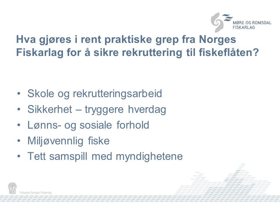 Hva gjøres i rent praktiske grep fra Norges Fiskarlag for å sikre rekruttering til fiskeflåten.