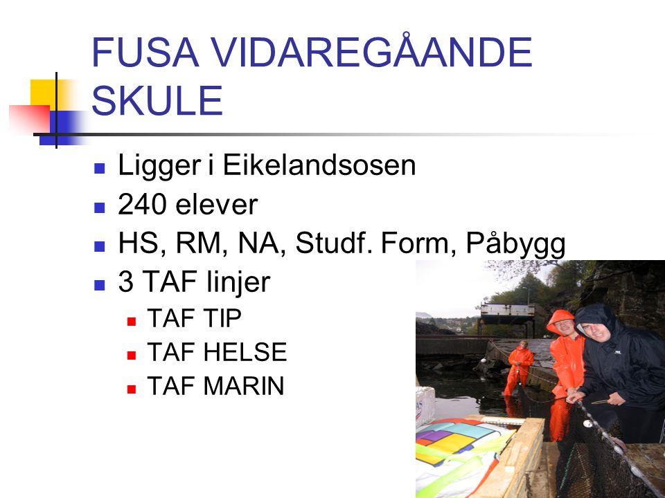 FUSA VIDAREGÅANDE SKULE Ligger i Eikelandsosen 240 elever HS, RM, NA, Studf. Form, Påbygg 3 TAF linjer TAF TIP TAF HELSE TAF MARIN
