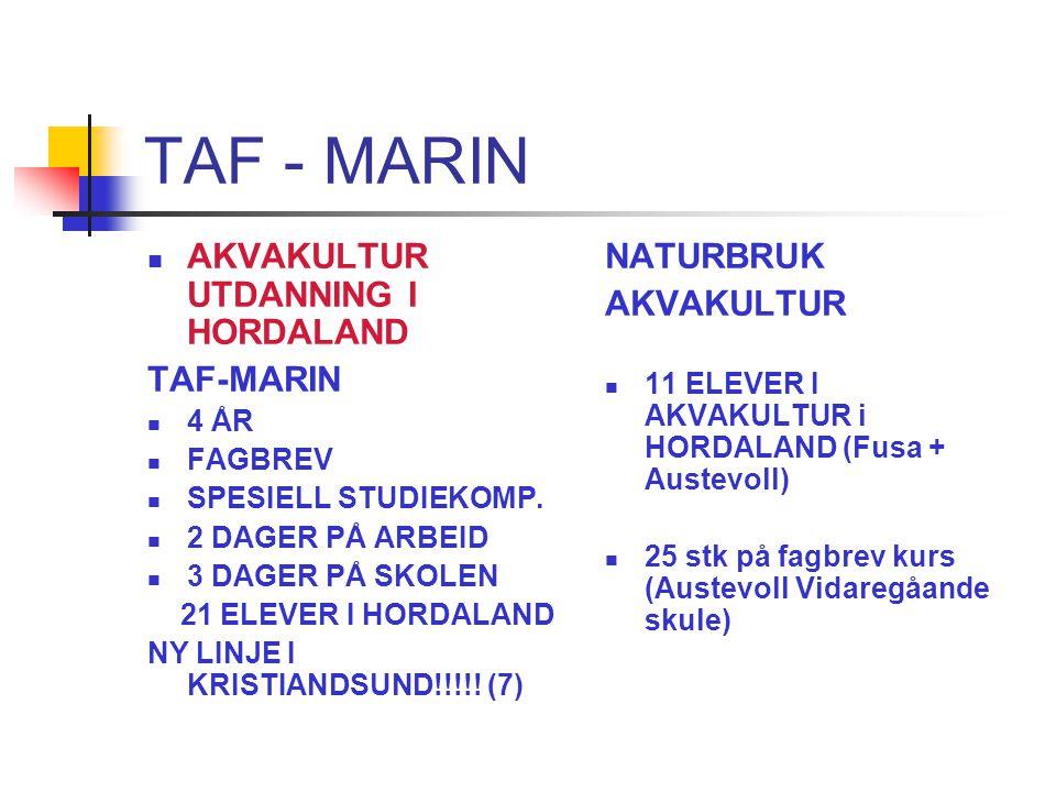 TAF - MARIN Fellesfag Teoretisk Matte Naturfag Fysikk Fy1 Kjemi Kj1 Norsk Engelsk Samfunnsfag Historie
