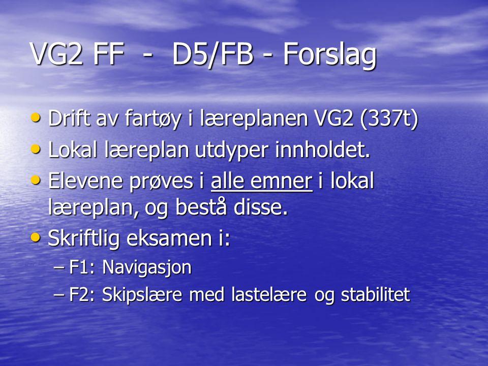 VG2 FF - D5/FB - Forslag Drift av fartøy i læreplanen VG2 (337t) Drift av fartøy i læreplanen VG2 (337t) Lokal læreplan utdyper innholdet. Lokal lærep