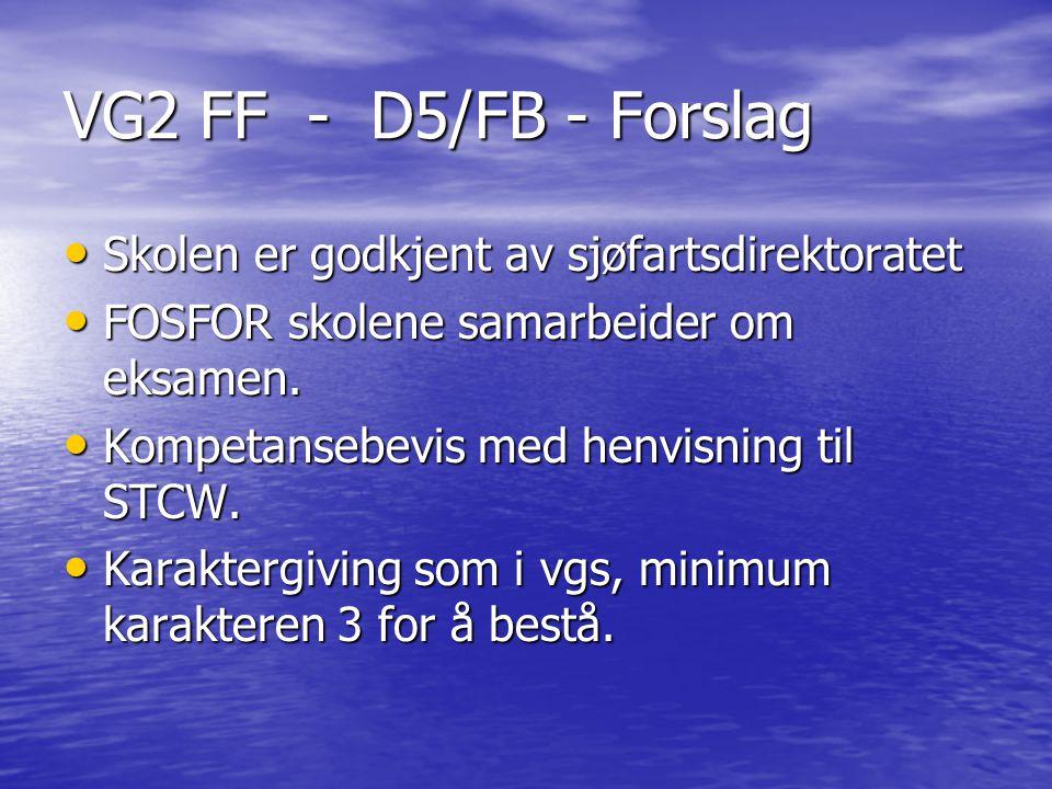 VG2 FF - D5/FB - Forslag Skolen er godkjent av sjøfartsdirektoratet Skolen er godkjent av sjøfartsdirektoratet FOSFOR skolene samarbeider om eksamen.