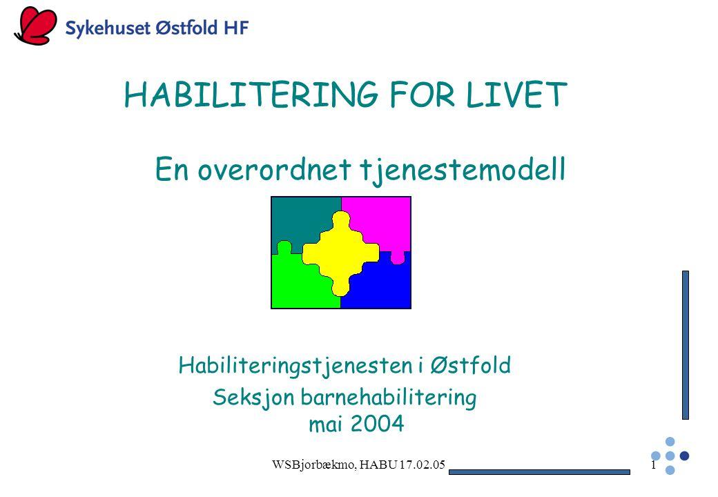 WSBjorbækmo, HABU 17.02.051 HABILITERING FOR LIVET En overordnet tjenestemodell Habiliteringstjenesten i Østfold Seksjon barnehabilitering mai 2004