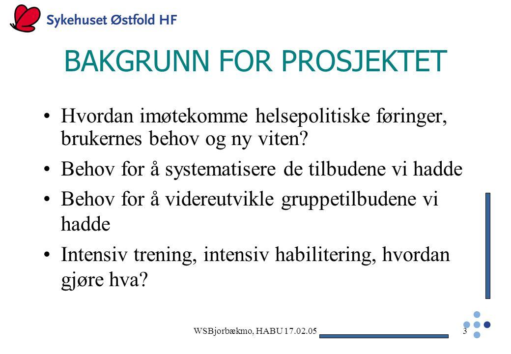 WSBjorbækmo, HABU 17.02.053 BAKGRUNN FOR PROSJEKTET Hvordan imøtekomme helsepolitiske føringer, brukernes behov og ny viten.