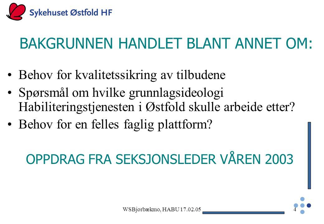 WSBjorbækmo, HABU 17.02.054 BAKGRUNNEN HANDLET BLANT ANNET OM: Behov for kvalitetssikring av tilbudene Spørsmål om hvilke grunnlagsideologi Habiliteringstjenesten i Østfold skulle arbeide etter.