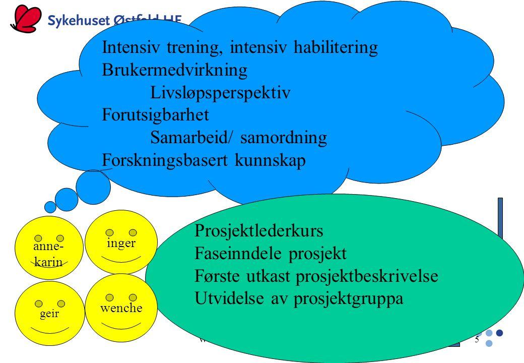 WSBjorbækmo, HABU 17.02.0525 HVA VI LÆRTE Finnes svært lite forskning om hva som former tilbudene innen habilitering Organisasjonsmodeller er utviklet med tanke på andre typer virksomhet Lite oppmerksomhet på møtepunktene der tilbudene tar konkret form – leveransepunktet (King,G, 2002, 2004; Larsson M, 2001)