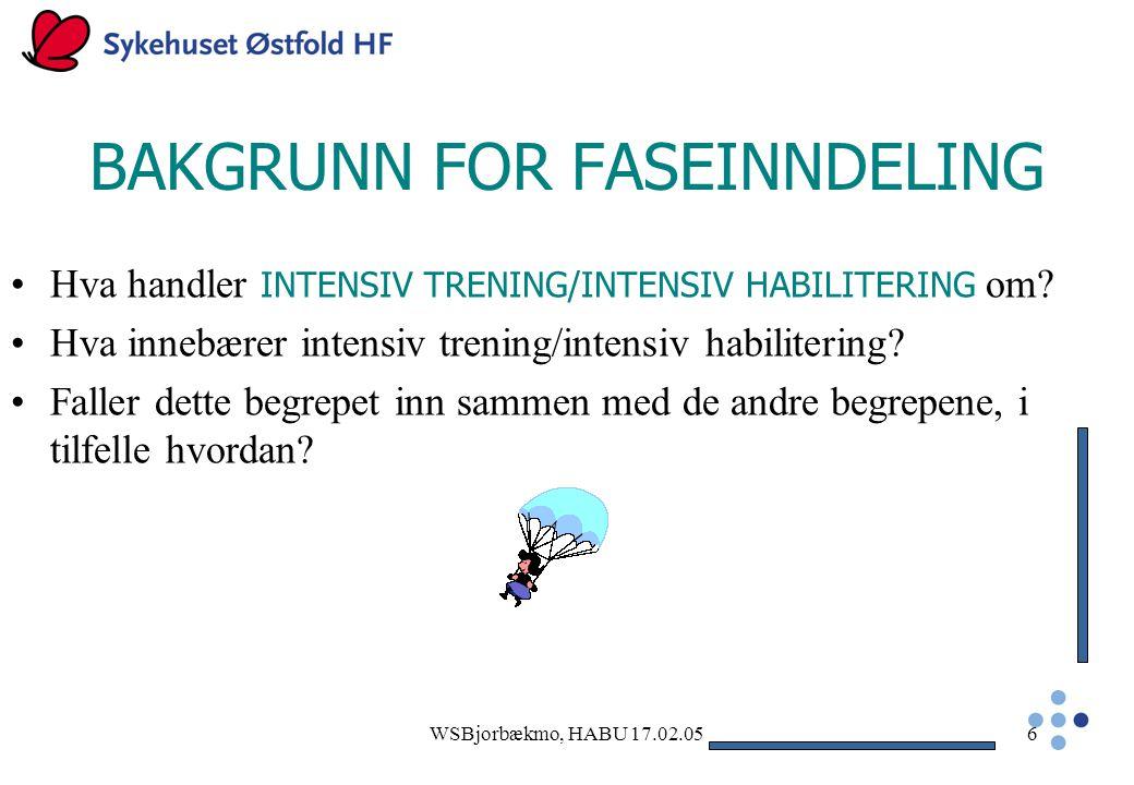WSBjorbækmo, HABU 17.02.056 BAKGRUNN FOR FASEINNDELING Hva handler INTENSIV TRENING/INTENSIV HABILITERING om.