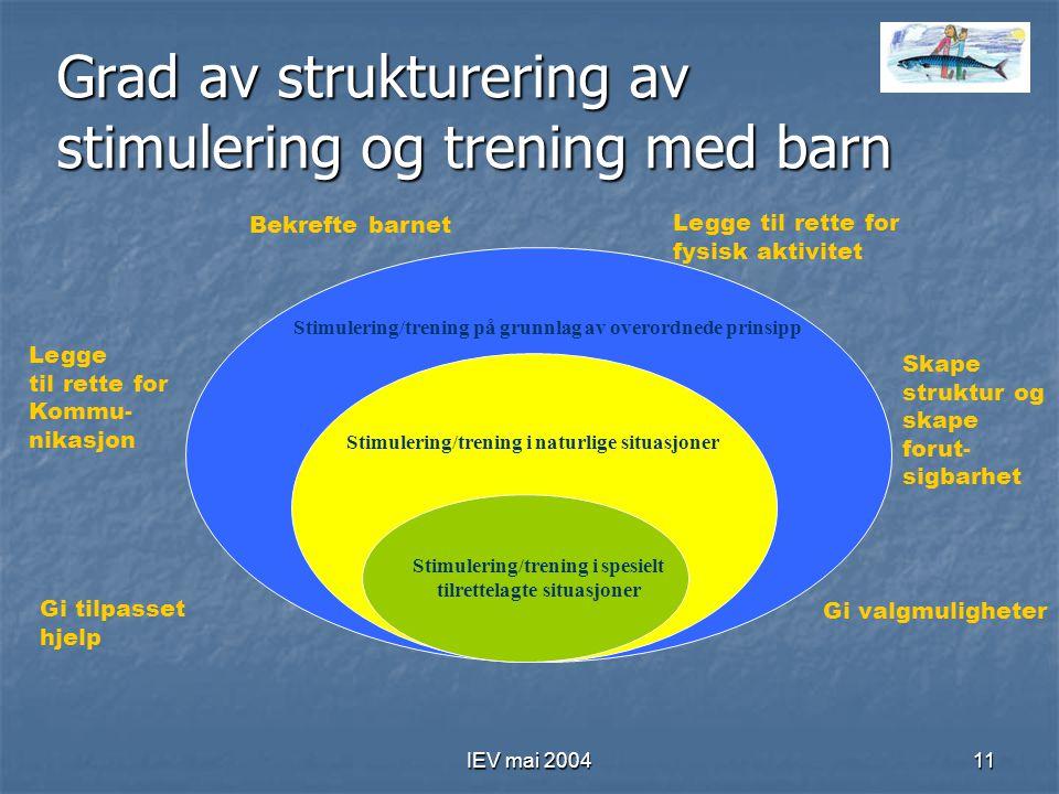 IEV mai 200411 Grad av strukturering av stimulering og trening med barn Stimulering/trening på grunnlag av overordnede prinsipp Stimulering/trening i