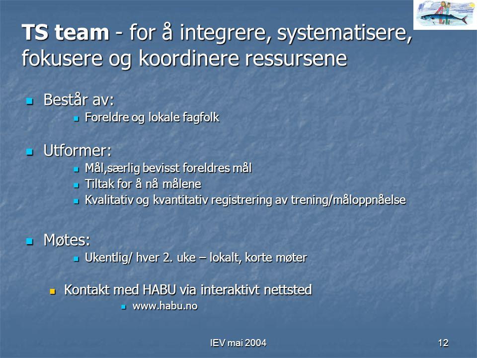 IEV mai 200412 TS team - for å integrere, systematisere, fokusere og koordinere ressursene Består av: Består av: Foreldre og lokale fagfolk Foreldre o