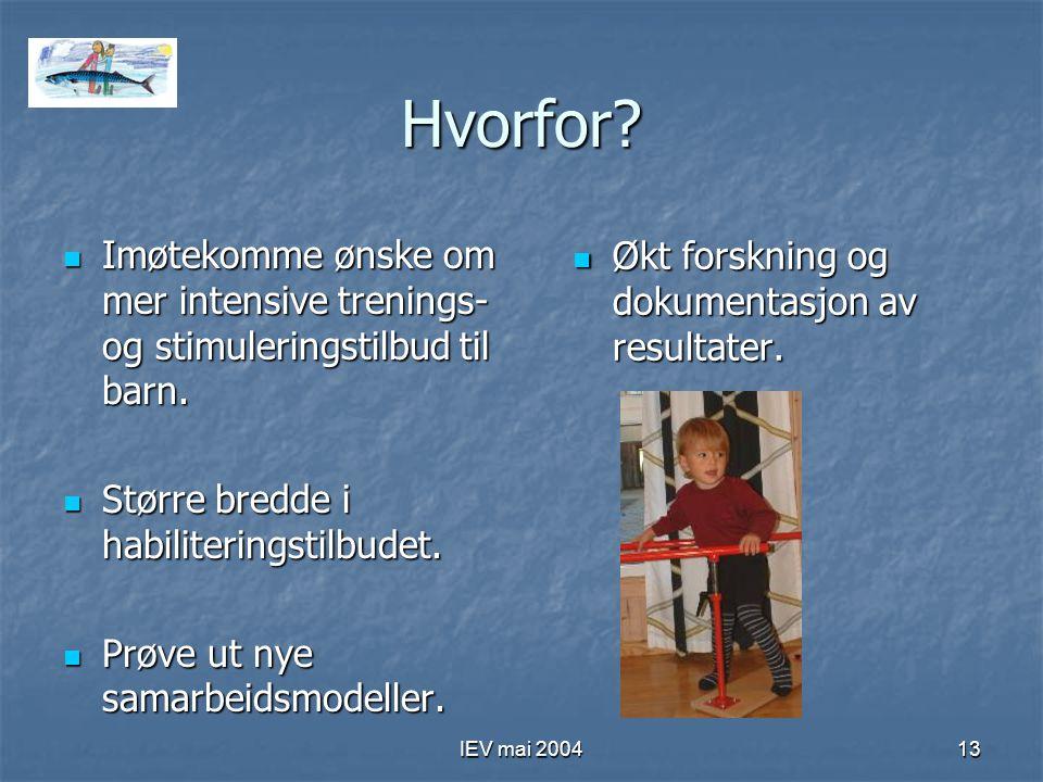 IEV mai 200413 Hvorfor.Imøtekomme ønske om mer intensive trenings- og stimuleringstilbud til barn.