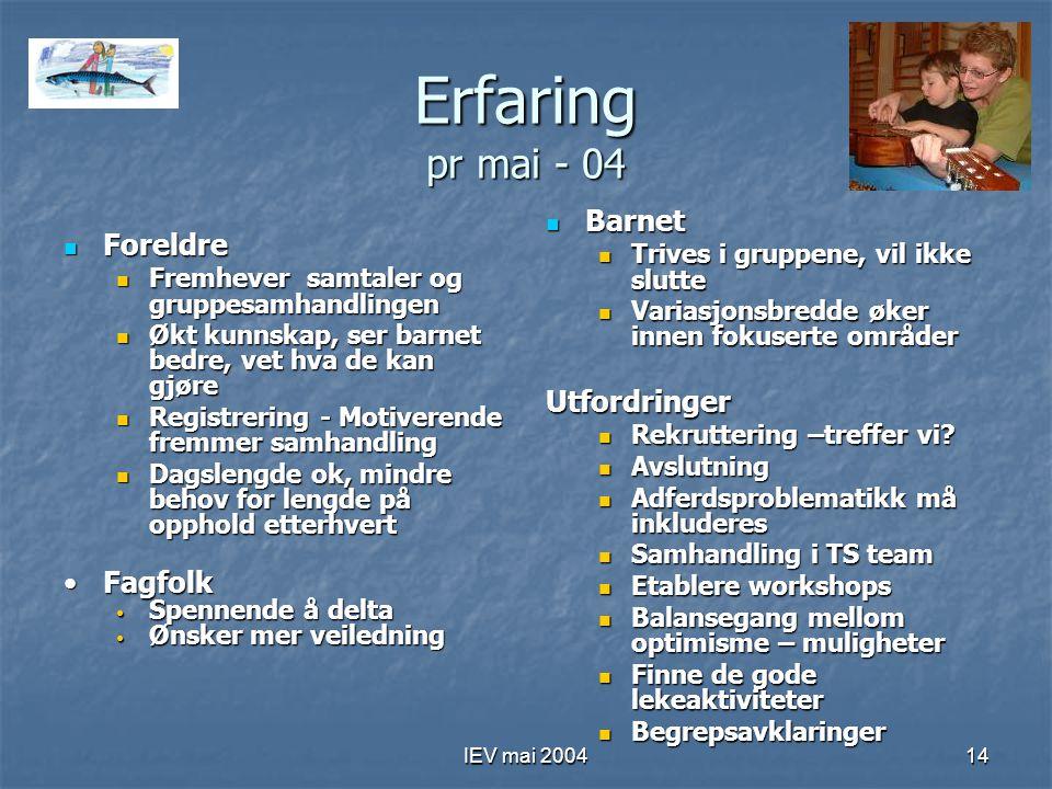IEV mai 200414 Erfaring pr mai - 04 Foreldre Foreldre Fremhever samtaler og gruppesamhandlingen Fremhever samtaler og gruppesamhandlingen Økt kunnskap