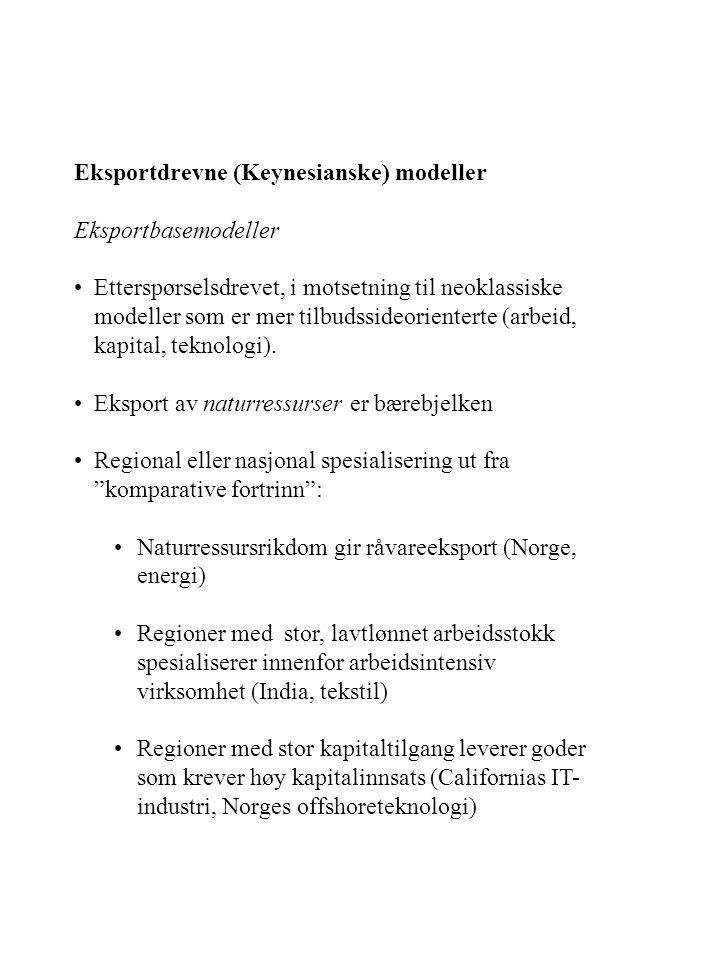 Eksportdrevne (Keynesianske) modeller Eksportbasemodeller Etterspørselsdrevet, i motsetning til neoklassiske modeller som er mer tilbudssideorienterte