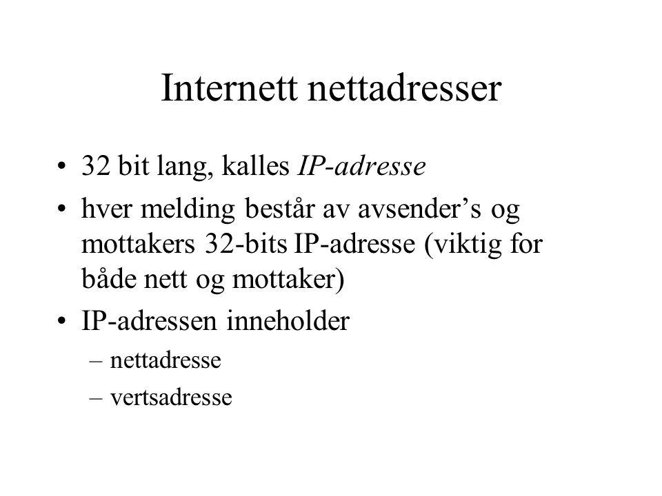 Internett nettadresser 32 bit lang, kalles IP-adresse hver melding består av avsender's og mottakers 32-bits IP-adresse (viktig for både nett og motta