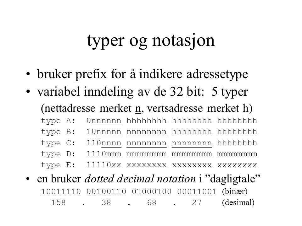 typer og notasjon bruker prefix for å indikere adressetype variabel inndeling av de 32 bit: 5 typer (nettadresse merket n, vertsadresse merket h) type