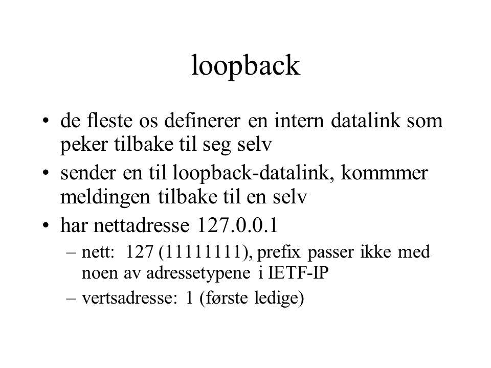loopback de fleste os definerer en intern datalink som peker tilbake til seg selv sender en til loopback-datalink, kommmer meldingen tilbake til en se