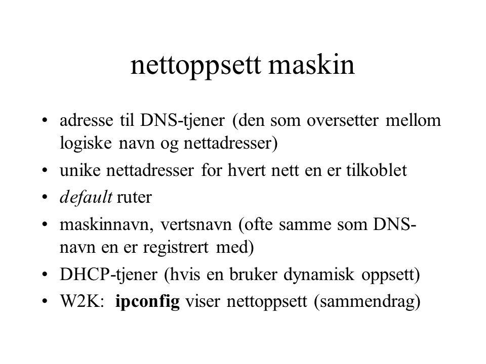 nettoppsett maskin adresse til DNS-tjener (den som oversetter mellom logiske navn og nettadresser) unike nettadresser for hvert nett en er tilkoblet d