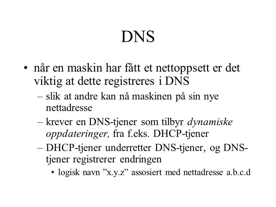 DNS når en maskin har fått et nettoppsett er det viktig at dette registreres i DNS –slik at andre kan nå maskinen på sin nye nettadresse –krever en DN