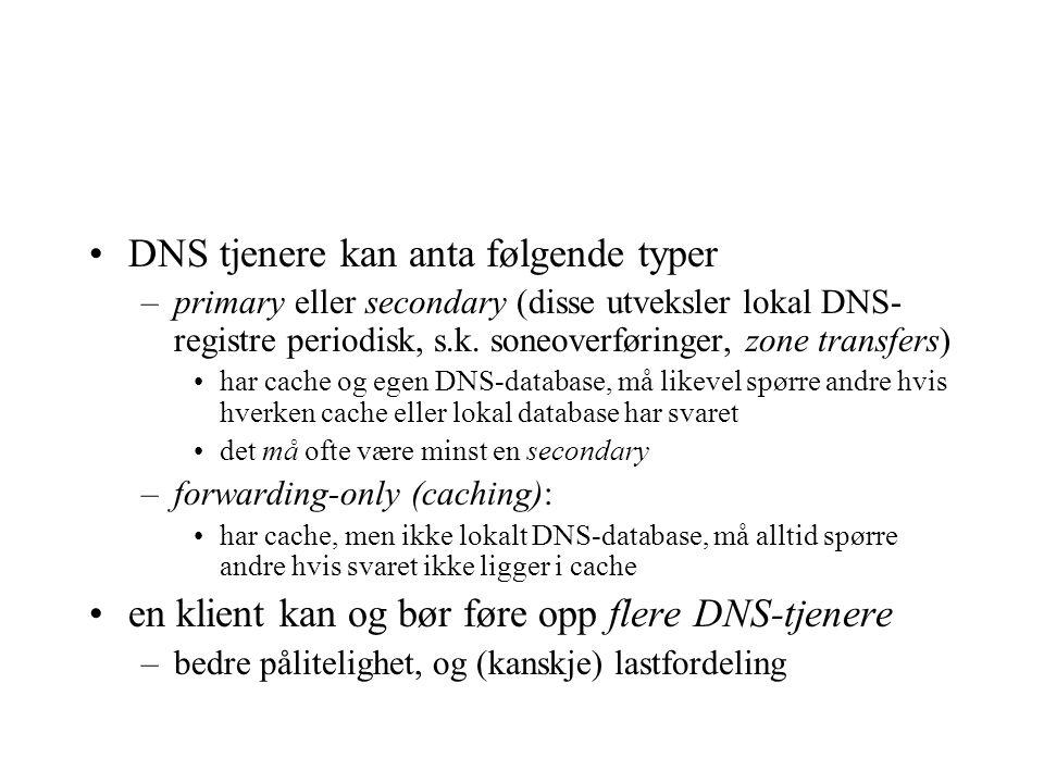 DNS tjenere kan anta følgende typer –primary eller secondary (disse utveksler lokal DNS- registre periodisk, s.k. soneoverføringer, zone transfers) ha